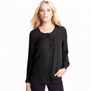 "Joie ""Osana"" Black Pocket Silk Shirt"
